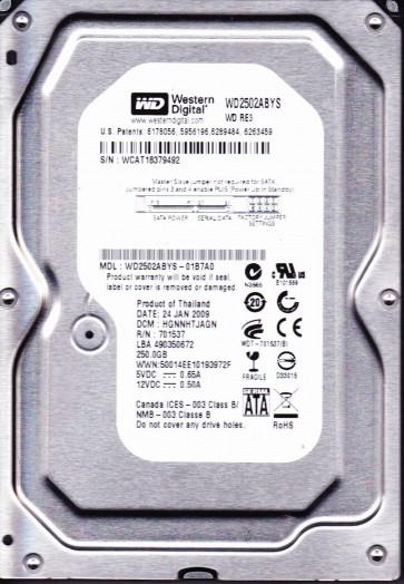 WD2502ABYS-01B7A0, DCM HGNNHTJAGN, Western Digital 250GB SATA 3.5 Hard Drive