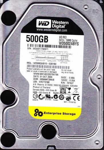WD5002ABYS-02B1B0, DCM HBNNNT2MAB, Western Digital 500GB SATA 3.5 Hard Drive