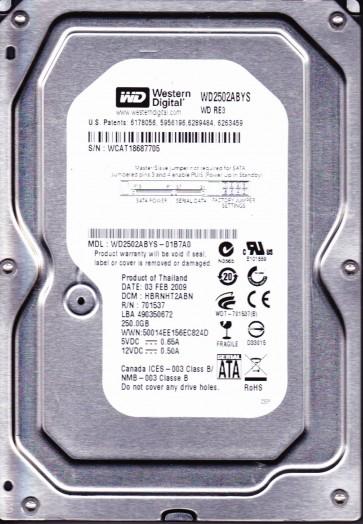 WD2502ABYS-01B7A0, DCM HBRNHT2ABN, Western Digital 250GB SATA 3.5 Hard Drive
