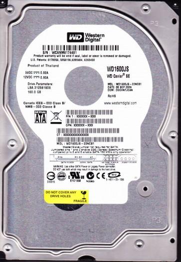 WD1600JS-22NCB1, DCM DSCHNTJCAN, Western Digital 160GB SATA 3.5 Hard Drive