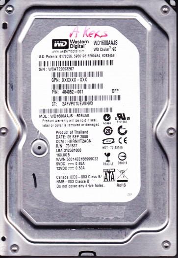 WD1600AAJS-60B4A0, DCM DHNNHT2CB, Western Digital 160GB SATA 3.5 Hard Drive