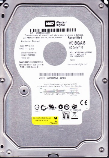 WD1600AAJS-00PSA0, DCM HGNCNTJEH, Western Digital 160GB SATA 3.5 Hard Drive