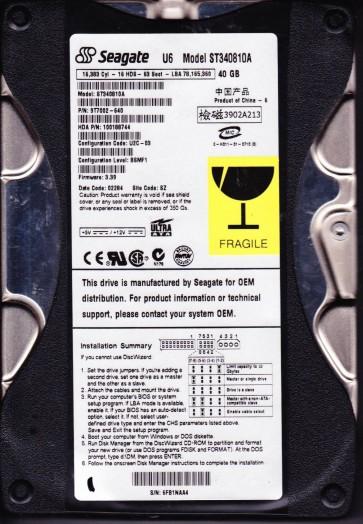 ST340810A, 6FB, SZ, PN 9T7002-640, FW 3.39, Seagate 40GB IDE 3.5 Hard Drive