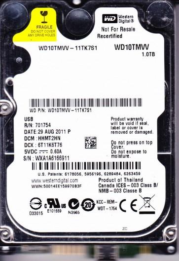 WD10TMVV-11TK7S1, DCM HHMT2HN, Western Digital 1TB USB 2.5 Hard Drive