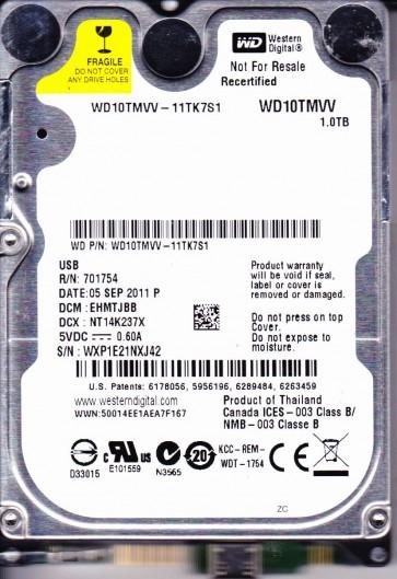 WD10TMVV-11TK7S1, DCM EHMTJBB, Western Digital 1TB USB 2.5 Hard Drive