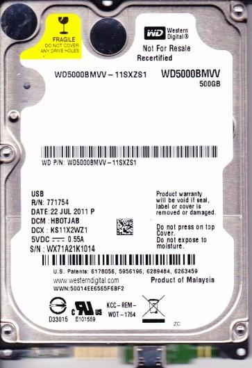 WD5000BMVV-11SXZS1, DCM HBOTJAB, Western Digital 500GB USB 2.5 Hard Drive