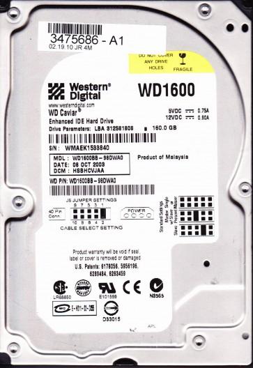 WD1600BB-98DWA0, DCM HSBHCVJAA, Western Digital 160GB IDE 3.5 Hard Drive