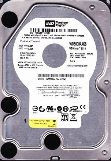 WD5000AAKS-00YGA0, DCM DHRNHT2MBN, Western Digital 500GB SATA 3.5 Hard Drive