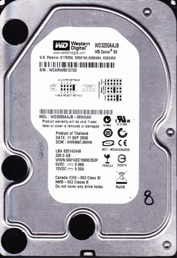WD3200AAJB-00WGA0, DCM HHRNNTJMHN, Western Digital 320GB IDE 3.5 Hard Drive