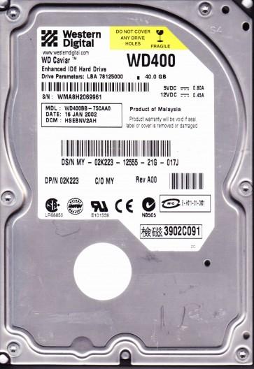 WD400BB-75CAA0, DCM HSEBNV2AH, Western Digital 40GB IDE 3.5 Hard Drive