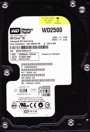 WD2500JB-22GVA0, DCM DSCHCTJAH, Western Digital 250GB IDE 3.5 Hard Drive