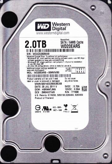 WD20EARS-00MVWB0, DCM HBRNNTJMA, Western Digital 2TB SATA 3.5 Hard Drive