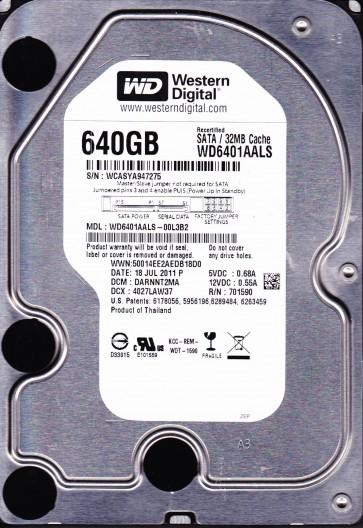 WD6401AALS-00L3B2, DCM DARNNT2MA, Western Digital 640GB SATA 3.5 Hard Drive
