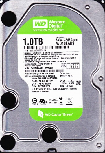 WD10EADS-11M2B2, DCM HBNCNT2MG, Western Digital 1TB SATA 3.5 Hard Drive