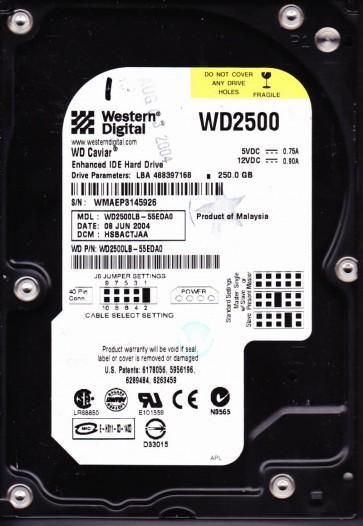 WD2500JB-55EDA0, DCM HSBACTJAA, Western Digital 250GB IDE 3.5 Hard Drive