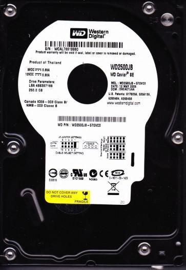 WD2500JB-57GVC0, DCM DSCACTJAA, Western Digital 250GB IDE 3.5 Hard Drive