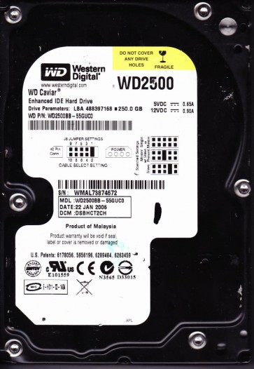 WD2500BB-55GUC0, DCM DSBHCT2CH, Western Digital 250GB IDE 3.5 Hard Drive