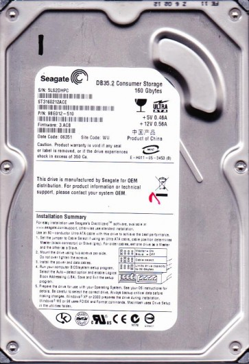 ST3160212ACE, 5LS, WU, PN 9BE012-510, FW 3.ACB, Seagate 160GB IDE 3.5 Hard Drive
