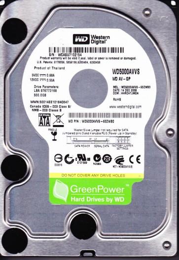 WD5000AVVS-63ZWB0, DCM HHRCHTJMGN, Western Digital 500GB SATA 3.5 Hard Drive