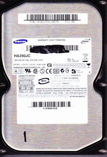 HA250JC, HA250JC, FW 200-30, P/V MS, Samsung 250GB IDE 3.5 Hard Drive