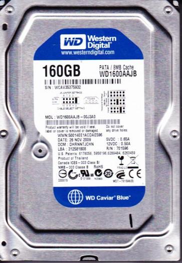 WD1600AAJB-00J3A0, DCM DHRNNTJCHN, Western Digital 160GB IDE 3.5 Hard Drive