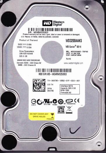 WD3200AAKS-75VYA0, DCM HARCNTJMHN, Western Digital 320GB SATA 3.5 Hard Drive