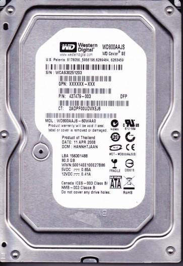 WD800AAJS-60WAA0, DCM HANNHTJAAN, Western Digital 80GB SATA 3.5 Hard Drive