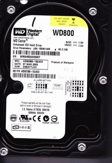 WD800BB-55JKC0, DCM DSBAYTJCH, Western Digital 80GB IDE 3.5 Hard Drive
