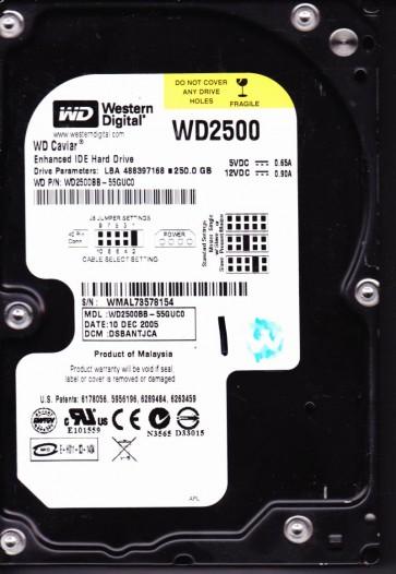 WD2500BB-55GUC0, DCM DSBANTJCA, Western Digital 250GB IDE 3.5 Hard Drive
