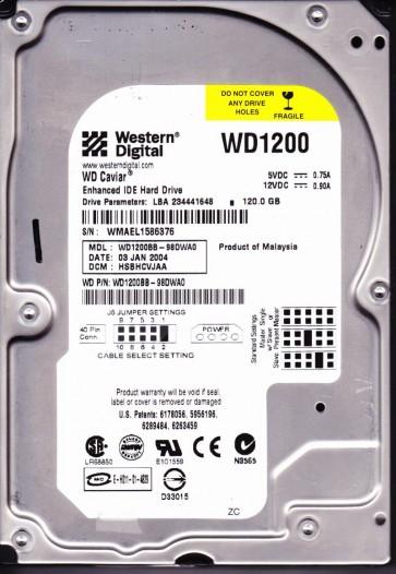 WD1200BB-98DWA0, DCM HSBHCVJAA, Western Digital 120GB IDE 3.5 Hard Drive