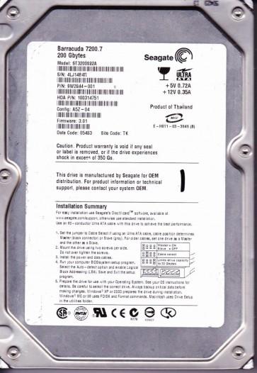 ST3200822A, 4LJ, TK, PN 9W2844-001, FW 3.01, Seagate 200GB IDE 3.5 Hard Drive