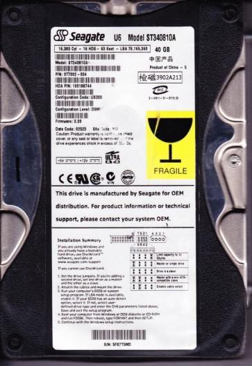 ST340810A, 5FB, WU, PN 9T7002-034, FW 3.39, Seagate 40GB IDE 3.5 Hard Drive