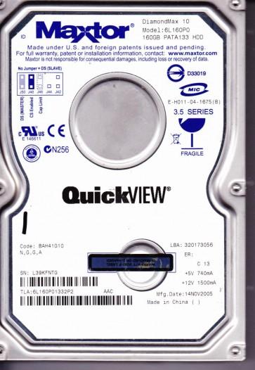 6L160P0, Code BAH41G10, NGGA, Maxtor 160GB IDE 3.5 Hard Drive
