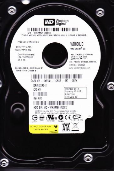 WD800JD-75MSA2, DCM HSCHNTJCA, Western Digital 80GB SATA 3.5 Hard Drive