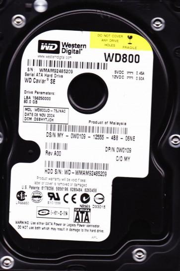 WD800JD-75JNA0, DCM DSBHYTJCH, Western Digital 80GB SATA 3.5 Hard Drive