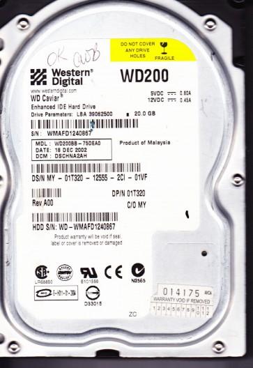 WD200BB-75DEA0, DCM DSCHNA2AH, Western Digital 20GB IDE 3.5 Hard Drive