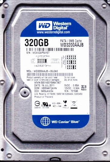 WD3200AAJB-00J3A0, DCM HBRNNT2AHN, Western Digital 320GB IDE 3.5 Hard Drive