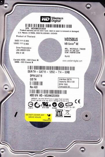 WD2500JS-75NCB3, DCM HSBHNTJCHN, Western Digital 250GB SATA 3.5 Hard Drive