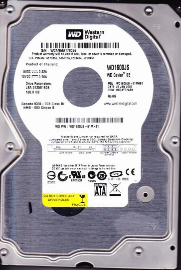 WD1600JS-61MHB1, DCM HSCAYT2AAN, Western Digital 160GB SATA 3.5 Hard Drive