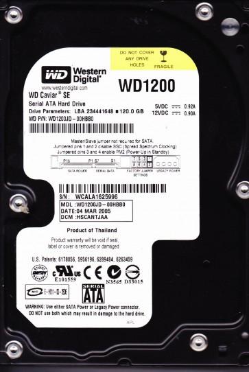 WD1200JD-00HBB0, DCM HSCANTJAA, Western Digital 120GB SATA 3.5 Hard Drive