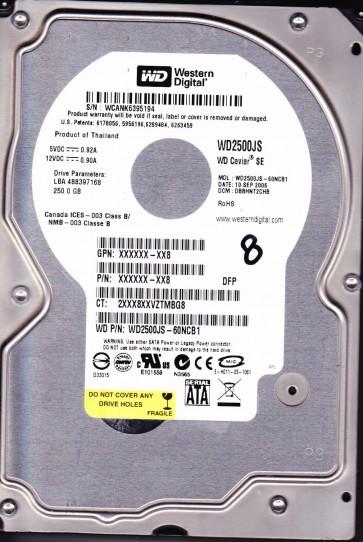 WD2500JS-60NCB1, DCM DBBHNT2CHB, Western Digital 250GB SATA 3.5 Hard Drive