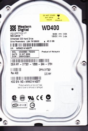 WD400BB-75DEA0, DCM DSBHCV2AH, Western Digital 40GB IDE 3.5 Hard Drive