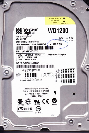 WD1200JB-00EVA0, DCM HSCHCTJCH, Western Digital 120GB IDE 3.5 Hard Drive