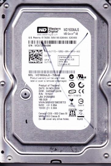 WD1600AAJS-75B4A0, DCM HARNHT2AHN, Western Digital 160GB SATA 3.5 Hard Drive