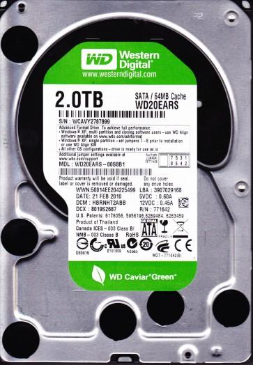 WD20EARS-00S8B1, DCM HBRNHT2ABB, Western Digital 2TB SATA 3.5 Hard Drive