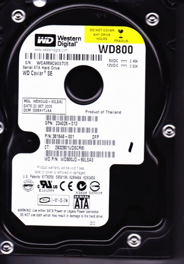 WD800JD-60LSA0, DCM DSBAYTJAA, Western Digital 80GB SATA 3.5 Hard Drive