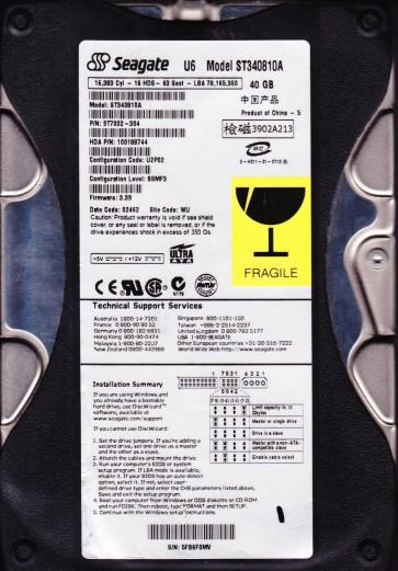 ST340810A, 5FB, WU, PN 9T8002-304, FW 3.39, Seagate 40GB IDE 3.5 Hard Drive