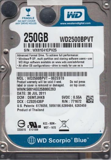 WD2500BPVT-00ZEST0, DCM DEMTJHKB, Western Digital 250GB SATA 2.5 Hard Drive