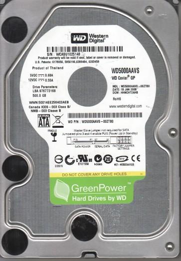 WD5000AAVS-00ZTB0, DCM HHNCHT2AHB, Western Digital 500GB SATA 3.5 Hard Drive