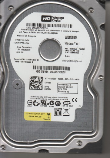 WD800JD-75MSA3, DCM DSBANTJCA, Western Digital 80GB SATA 3.5 Hard Drive